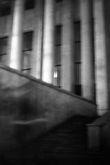 PARCELLE 16-035_32 (gyjishukke) Tags: noiretblanc monochrome analog argentique believeinfilm shootfilm minoltax700 50mm nuit palaisdetokyo paris scanlowdef ilford delta400 800iso selfdevelopment hc110b 10 20 colonnes escalier poselongue flou bw