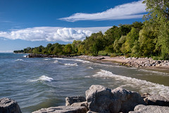 Lake Ontario shoreline, Mississauga (Mustang Joe) Tags: nikon publicdomain d750 mississauga ontario canada ca jack darling park water shore landscape lake outdoor trees clouds blue sky sunny waves