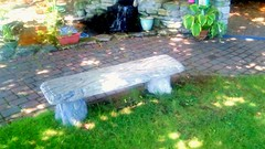 Library bench and waterfall-HBM. (Maenette1) Tags: happybenchmonday bench waterfall spiespubliclibrary menominee uppermichigan