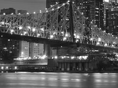 Cantilever Bridge at Night (Lojones13) Tags: bridge cantilever night newyork cityscape city queensboro edkoch landmark water longexposure outdoor blackandwhite