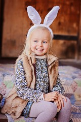 ++ (SeattleHVAC172) Tags: portrait girl door house outdoor beautiful season cute white child smile happy ears fun kid caucasian laugh little sit blonde dress country egg vertical rural holiday wooden bunny ladder easter daylight nice decoration comfort preschool adorable