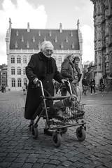 walking the dog (petdek) Tags: elderly dog street candid monochrome leuven grotemarkt