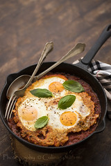 Eggs in tomato sause (vanilllaph) Tags: bake baked baking egg eggs tomato sause copyspace dish food vegetarian basil leaf skillet lunch dinner cook cooked cooking recipe fork spoon eat eating colorful menu cookbook delicious vertical taste tasty pepper