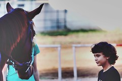 Horses are meant for bonding and with kids it's even more  (Captured by Bachi) Tags: october horse horses equestrain love horselover horselove cowboy baby brown dawn classic portrait art light winter people family me new