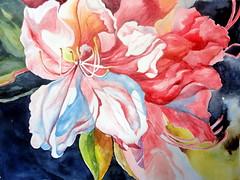Azalea, by Graa - DSC07907 (Dona Mincia) Tags: art painting flower beauty nature petal leaf arte pintura aquarela flor belo beleza natureza ptala folha azalea