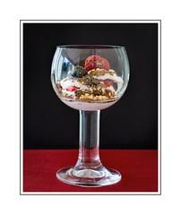 38/52: Dessert (hehaden) Tags: glass wineglass dessert blueberries raspberries 52photos2016