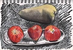 Small apples & large pear (Marcia Milner-Brage) Tags: stilllife brushpen calligraphypen whitegelpen watercolor stillmanbirnbeta inktober inktober2016 marciamilnerbrage fruit