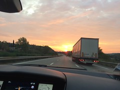 Sun's up! (goforchris) Tags: holidays hf hfholidays morning early taxis sunrise motorways france provence autumn