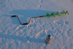Fishing ice screws and a thermos (mikhafff1984) Tags: fishing ice screws thermos tea sunset snow winter traces cold frost