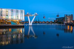 London - The Emirates Air Line, Reflections (Yen Baet) Tags: city uk greatbritain travel sunset england london architecture river twilight europe european cityscape waterfront view unitedkingdom britain dusk greenwich scenic eu landmark icon transportation cablecar vista docklands british iconic thamesriver gondolas royalvictoriadock waterscape britons emiratesairline yenbaet emiratesroyaldocks