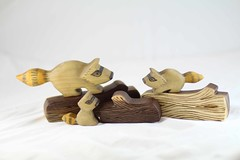 Mama Raccoon and Babies wooden toy set (kris10dale) Tags: wood rabbit bunny alpaca log poplar babies handmade waldorf walnut bee honey etsy hive raccoons woodentoy naturetable tworaccoonhollow