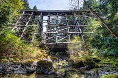 Todd Creek Trestle Bridge (mgabelmann) Tags: wood trestle bridge canada water creek britishcolumbia hdr sooke sookepotholes toddcreek