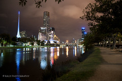 Melbourne (Rauy Photography) Tags: trees water night landscape lights concert cityscape sony australia melbourne victoria rowing vic aussie eurekatower yarrariver hammerhall 2013 melbourneartscentre railtotower rauyphotography