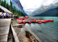 lining up for a canoe ride in lake louise (Rex Montalban Photography) Tags: lakelouise banffnationalpark hss rexmontalbanphotography sliderssunday