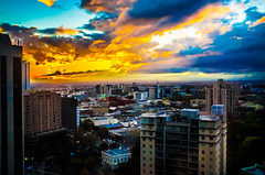 Carlton Sunset (Ruben Daniel Mascaro Photography) Tags: blue sunset sun yellow skyscraper buildings carlton fuji melbourne level 17 x100 casseldenplace casselden fujix100