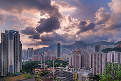 Ping Shan (mikemikecat) Tags: street sunset house mountain building rooftop architecture clouds vintage landscape hongkong colorful pattern dusk sony cityscapes hong kong nostalgia housing block rays   kowloon   epic   stacked  estates crepuscular lionrock   carlzeiss   kowloonbay  pingshan     a7r            sel70200g sel1635z fe1635mm  mikemikecat