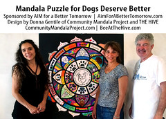 IMG_2549_Attribution_DDG_800px_o (Music & Mandala Art for Healing) Tags: donnagentile dogs deserve better aimforabettertomorrow communitymandalaproject beeatthehive the hive mandala puzzle healing art rescue