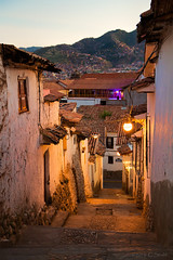 Cusco Side Street - 1 (cheryl strahl) Tags: peru cusco architecture inca colonialspanish stones alleys walkways streets streetlamp glow evening cobblestone
