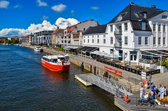 Ferry Arrival (bjorbrei) Tags: river water waterfront blue red ferry quay bryggepromenaden norway fredrikstad