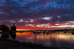 After Sunset (Sterling67) Tags: valentine sunset water lakemacquarie reflections boat yacht clouds