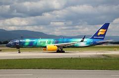 Icelandair (Aurora Borealis Livery). TF-FIU. Boeing 757-256. FI565. (Themarcogoon49) Tags: aurora boeing b757 aircraft gva airport cointrin lsgg planespotting switzerland avgeek