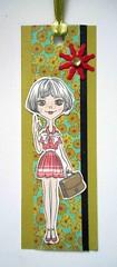 BM17 - Handmade bookmark (tengds) Tags: bookmark handmade flowers girl green teal red papercraft tengds