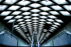 Jarry Ceiling (s.W.s.) Tags: jarrystation metro subway montreal quebec canada nikon d3300 rails pattern indoor urban station symmetry symmetric architecture lightroom ceiling perspective