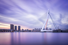 Last sunlight (miguel_lorente) Tags: modern longexposure netherlands bridge sunset street water architecture city cityscape silky buildings rotterdam erasmus
