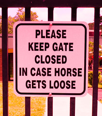 Pink Sign (Sonia'sGallery) Tags: bysoniaa flickr flickrsoniaargenio flickrsoniasgallery flickrsoniaa flickrsoniagallery obs ocalabreederssale ocalafl outdoors soniaargenio florida gate gated grass guarded horse horsecountry horsesale horses outbuildings posted
