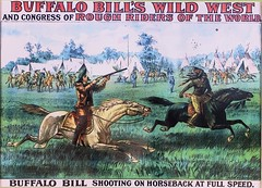 Buffalo Bill's Wild West poster. Exhibit at the Buffalo Bill Museum on Lookout Mountain, Colorado (lhboudreau) Tags: buffalobill buffalobillmuseum museum lookoutmountain colorado usa williamfcody williamfbuffalobillcody cody buffalobillcody scout buckskins horse rifle whitehorse painting cowboyhat field exhibit boots saddle horseback indian americanindian nativeamerican horses wildwest buffalobillswildwest poster tents shootingskill shootingonhorseback roughriders roughridersoftheworld wildwestshow buffalobillswildwestshow