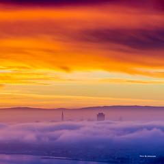 Burning Sky (davidyuweb) Tags: burning sky  san francisco sunrise low fog hawk hill luckysnapshot sfist