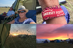 237 2016 ready for stewarding at Towersey Festival (Margaret Stranks) Tags: 237366 365days 2016 towerseyfestival thameshowground oxfordshire uk tent hat sunglasses sunset wristband rain
