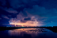 Rage the Tornado (Moos Wu) Tags: chimney sky pollution bird reflection low light mooswu