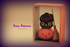 Happy Halloween, Kitty Gift Box,,Cat Shadow Box, handmade kitty, penguin, handmade home decor,handmade art dolls (charles fukuyama) Tags: blackcat kitten kitty cute claydoll witch pumpkin fall deskdecor giftideas orange kikuike sculpted
