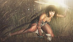 Heroine of her own legend (Alexa M.) Tags: entice genre zibska we3roleplay noctis muse dva collabor88 {nantra}poses secondlife outdoors wildwoman primitive prehistoric woman tattoo bedrock spear