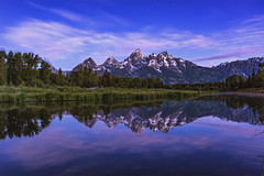Twilight Gift (Maddog Murph) Tags: twilight grand teton wyoming jackson hole reflection water clear crisp smooth blue pink fuzzy soft photography sway clouds halo glow dusk dawn dawning new day sunrise astro stars twinkle trees