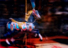 Oh cavallina, cavallina storna... (ale2000) Tags: bluristic snapseed imageblender mextures photoshopfix carousel carrousel roundabout merrygoround giostra giostre cavallo horse rider cavallina cavallinastorna creepy scary blurry blurred