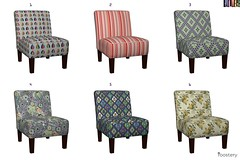 Roostery_Chairs (vannina_sf) Tags: chair furniture roostery spoonflower fabric textile deco home interior design scarab parrot jungle rosa farm stripes petals flowers