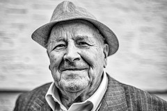 Happy camper (skamelone) Tags: lausanne 2016 blackandwhite bw portrait streetphotography urban summilux 50mm