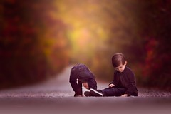 The way they were... (Jennifer Blakeley) Tags: boys children childhood fall colors leaves road