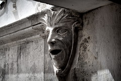 Sintra Masque (Bruce Poole) Tags: brucepoole 2015 europe worldtrekker art sintra portugal lisbon lisboa stone masque mask gargoyle face sculpture smiler mono contrast blackandwhite monochrome head bust