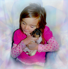 puppy love (calamityjan2008) Tags: fall2016olymp girl puppy littlegirl littlegirlwithpuppy puppywithlittlegirl puppylove puppyluv pinkflowers