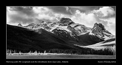 Morning with Mt. Lougheed and the Windtower from Gap Lake, Alberta (kgogrady) Tags: fall infrared landscape mtlougheed windtower alberta canada blackandwhite canadianlandscapes blackwhite canadianrockies autumn albertalakes 2016 bw albertalandscapes canadianmountains canadianrockieslanscape ab canadianlakes westerncanada trees xf55200mmf3548ois xpro1 cans2s fujinon fujifilmxpro1 fujifilm clouds gaplake panorama mountains nopeople noone pano mountlougheed picturesofalberta photosofalberta