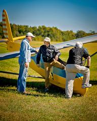 Rusty Lowry, Gp. Capt. Willy Hacket, RAF  & Bob Dierker -  VSA 3 (massey_aero) Tags: vintagesailplaneassoc sailplane glider vsarally masseyaerodrome masseyairmuseum schweizer222glider