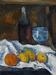 CEZANNE,1877-79 - Le Buffet - Still Life, The Buffet (Budapest) - Detail -d (L'art au prsent) Tags: art painter details dtail dtails detalles painting paintings peinture peintures 19th 19e peinture19e 19thcenturypaintings 19thcentury detailsofpainting detailsofpaintings tableaux paulczanne paulcezanne cezanne czanne stilllife naturemorte budapest hongrie hungary citrons citron lemon lemons orange oranges nappe nappeblanche whitecloth chiffon cloth bleu blue tasse cup sucrier sugarbowl buffet knife fruit food pomme apple apples glass verre dessert biscuits