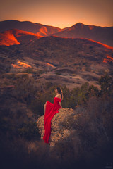 Red ({jessica drossin}) Tags: jessicadrossin woman reddress mountains alone view cliff desert west western landscape wwwjessicadrossincom