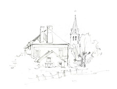 Boissy-Maugis, Orne, France (Linda Vanysacker - Van den Mooter) Tags: visiblytalented vanysacker vandenmooter tekening sketch schets potlood pencil lindavanysackervandenmooter lindavandenmooter frankrijk france drawing dessin croquis crayon boissymaugis orne