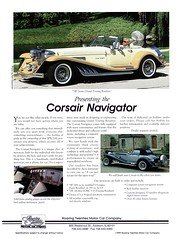 "1992 Corsair Navigator ""SR"" Series Grand Touring Roadster (aldenjewell) Tags: 1992 corsair navigator sr series grand touring roadster roaring twenties motor car co addison illinois brochure"