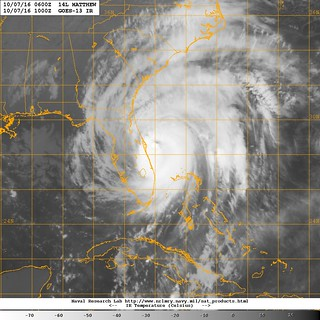 Hurricane Matthew moves along the eastern coast of Florida.