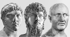 Aging (France through my eyes) (docoverachiever) Tags: sculpture france statues 2116 art paris luciusverus busts antiquities heads young louvre three blackandwhite old men invertebrate